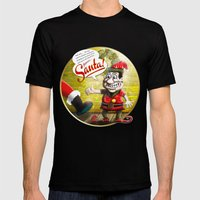 Here's Santa! Mens Fitted Tee Black SMALL