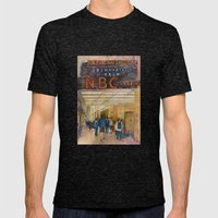 The Rock - Rainbow Room - New York City  Original Watercolor Print Mens Fitted Tee Tri-Black SMALL