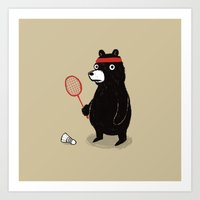 Badminton Bear Art Print