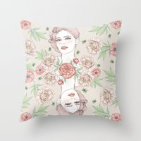 Woman with flowers and beetles Throw Pillow