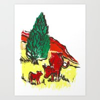 Big Moo, Wee Moo (colore… Art Print