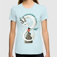 Dragon Spirit Womens Fitted Tee Light Blue SMALL