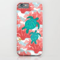 iPhone Cases featuring Sea Turtles in The Coral - Ocean Beach Marine by Shelly Penko