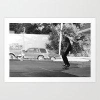 Art Print featuring Skateboarding Giraffe by Gnarleston