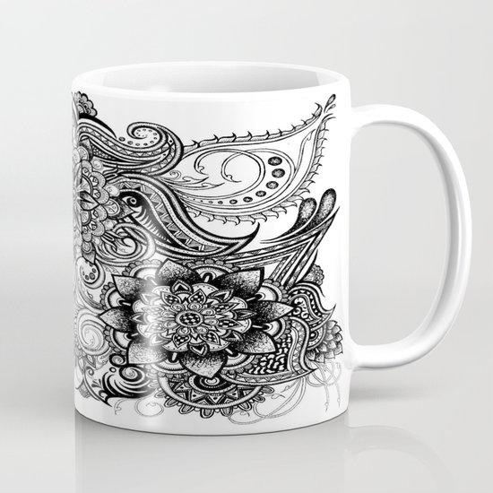 Freeform Black and White Ink Drawing Mug