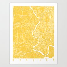 Bangkok map yellow Art Print