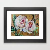 Two Roses On Gold Framed Art Print
