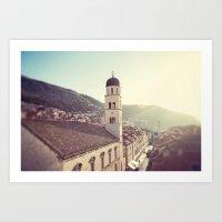 Belltower In Dubrovnik Art Print