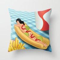Hot Dog Girl Throw Pillow