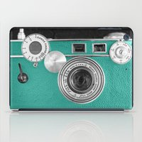 Teal retro vintage phone iPad Case
