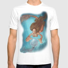 Mermaid White Mens Fitted Tee SMALL