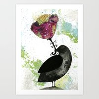 Art Print featuring The Crow and the Flower by Sarah Ogren