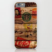 iPhone & iPod Case featuring Wooden wall of Brands by Li9z