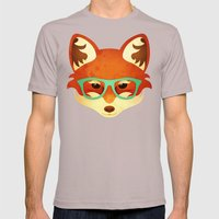 Hipster Fox: Azure Mens Fitted Tee Cinder SMALL