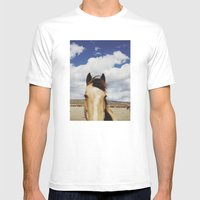 Cloudy Horse Head Mens Fitted Tee White SMALL