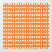 Circular Orange Dots Pattern Canvas Print