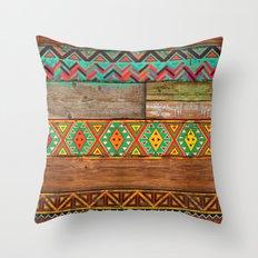 Indian Wood Throw Pillow