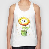 Fireflower Watercolor Unisex Tank Top