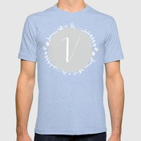 Garland Initial V - Grey Mens Fitted Tee Tri-Blue SMALL