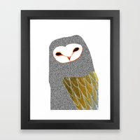 Barn owl, owl art, owl illustration, owls, nature, animal art,  Framed Art Print