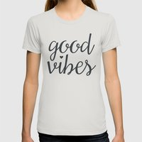good vibes  Womens Fitted Tee Silver SMALL