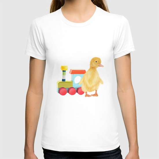 A duckling with a wood colored toy on a light blue background T-shirt