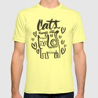 ALWAYS CATS Mens Fitted Tee Lemon SMALL