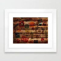 Wooden Wall Of Brands Framed Art Print