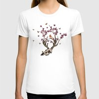 animal skull T-shirts featuring Animal Skull and Butterflies by Paula Belle Flores