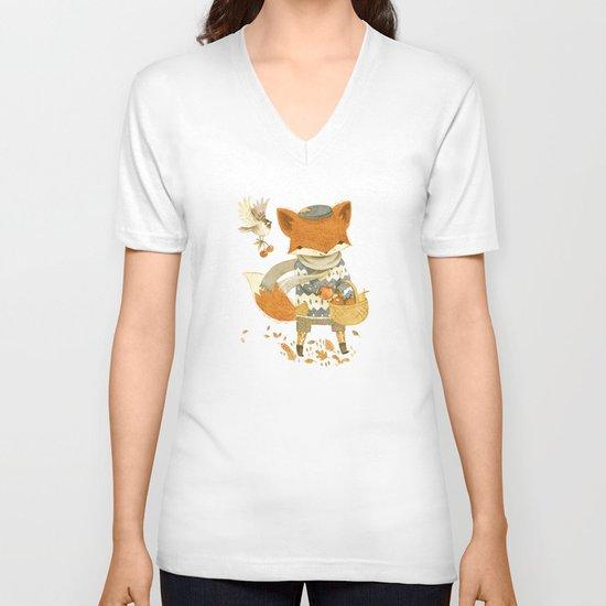 Fritz the Fruit-Foraging Fox V-neck T-shirt