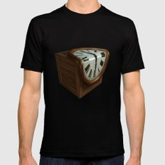 Melting Clock SMALL Black Mens Fitted Tee