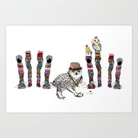 Owl in the City of Hearts Art Print