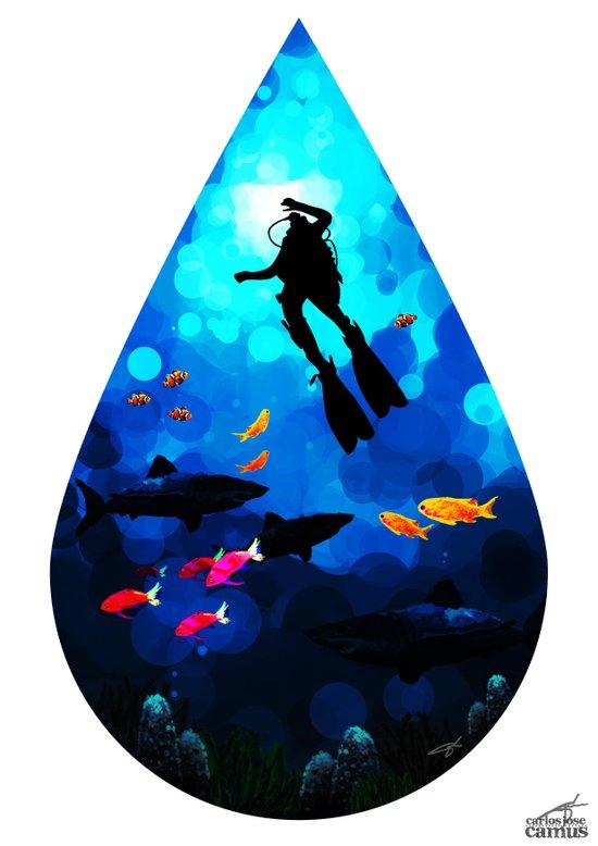 Diver of the Blue Art Print