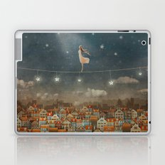 Illustration of  cute houses and  pretty girl   in night sky Laptop & iPad Skin