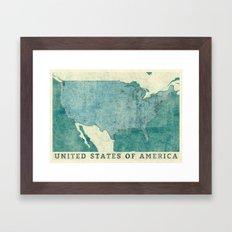 United States Of America Map Blue Vintage Framed Art Print