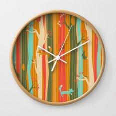 Woodland Stripe Orange Wall Clock