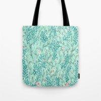 Blue Leaves Tote Bag