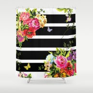 Black & White  Floral Shower Curtain