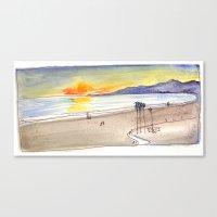 Golden Light At The Beac… Canvas Print