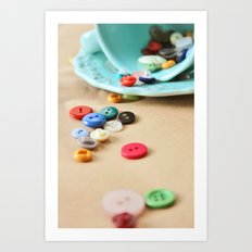 Buttons and Teacups 2 Art Print