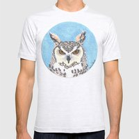great horned owl Mens Fitted Tee Ash Grey SMALL