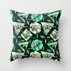 90's Dinosaur Skeleton Neon Pattern Throw Pillow