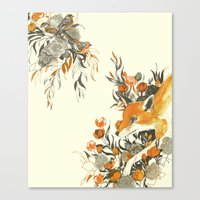 Canvas Print featuring fox in foliage by Teagan White