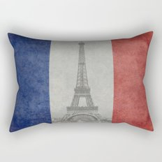 Distressed National Flag of France with Eiffel Tower insert Rectangular Pillow