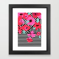 Sugar Bloom Stripe Framed Art Print