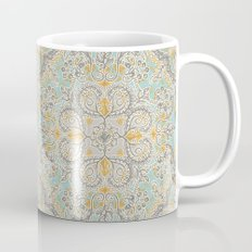 Gypsy Floral in Soft Neutrals, Grey & Yellow on Sage Mug
