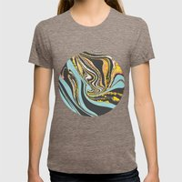 Wavy Marbling Womens Fitted Tee Tri-Coffee SMALL