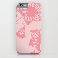 Floral silhouette pink iPhone 6 Slim Case