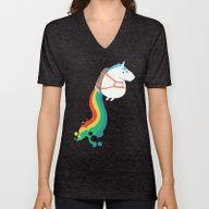 Fat Unicorn On Rainbow J… Unisex V-Neck