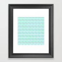 chevron blue&green Framed Art Print